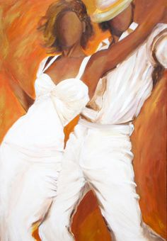 Tango dancers art print on paper in white dress and white fedora with a burnt orange and bronze background-Title: Tango Blanco
