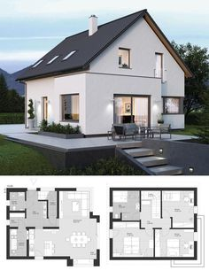 Modern European Style Architecture Design House Plans ELK Haus 135 with Open Flo. : Modern European Style Architecture Design House Plans ELK Haus 135 with Open Flo. European House Plans, Modern House Plans, Modern House Design, European Homes, Architecture Design, Plans Architecture, Design Architect, Design Exterior, Modern Exterior