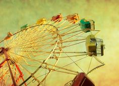 vintage ferris wheel on a green textured sky