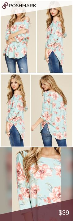 "PREORDER  Dusty Mint off or on Shoulder Tunic! A 3/4 sleeve knit top with a round neck featuring floral print and hi-low hemline. Fabric is soft and comfortable.  Model is 5'9"" and is wearing a size Small. Fabric 75% Polyester, 20% Rayon, 5% Spandex Made in USA Tops Tunics"