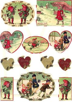 Vintage winter scenes scrap sheet from Denmark