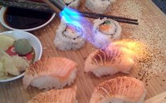 Blow Torch Sushi   served raw