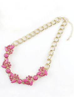 Red Gemstone Gold Double Layers Chain Necklace US$7.51