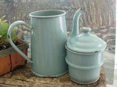 1930's seafoam/jadeite green french enamelware vintage coffee pot by AVGrig