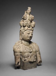 China, Tang dynasty gray sandstone, Overall: x x cm x 25 x 10 inches). Gift of Severance and Greta Millikin Chinese Painting, Chinese Art, Buddha India, Chinese Embroidery, 17th Century Art, Old Cemeteries, Cleveland Museum Of Art, Angel Statues, Guanyin