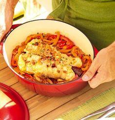 Rôti de lotte basquaise clouté de chorizo. Recette pour vos Tables d'hôtes et Petits déjeuner ( Maisons et chambres d'hôtes )