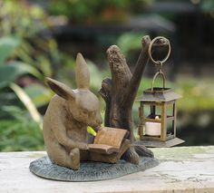 Booklover Bunny with Lantern | Charleston Gardens® - Home and Garden Collection Classic outdoor and garden furnishings, urns & planters and garden-related gifts