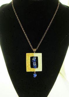 Ceramic Pottery Necklace with Lapis Lazuli