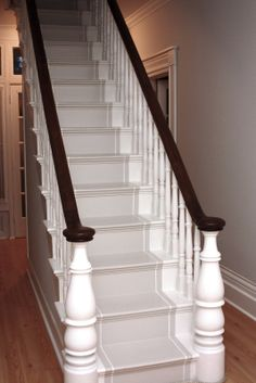 This can be built with clear pine stair treads and risers. big newel posts at the bottom. Painted Staircases, Painted Stairs, Stenciled Stairs, Spiral Staircases, Banisters, Stair Railing, Stairs Trim, Front Stairs, Staircase Runner