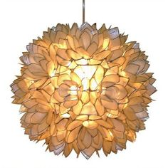 Capiz Shell Floral Pendant Light gives off a warm beautiful yellow light. This would work well in bathroom or bedroom. #goodhousekeeping #happyroom