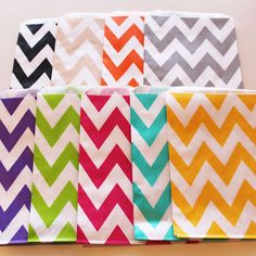 Chevron Stripe Favor Bags - 100 YOU PICK your COLOR - Designer Party Favor Bags, Weddings, Birthday, Made in Usa