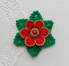 CROCHET BROOCH APPLIQUE GLITTER FLOWER CHRISTMAS FLOWER POINSETTIA in Crafts, Crocheting & Knitting, Other Crocheting & Knitting   eBay