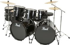 Pearl Forum 8-Piece Double-Bass Drum Set Jet Black
