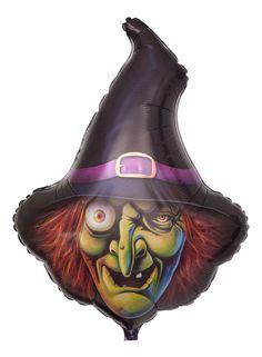 """Halloween Ballon """"Gruselige Hexe""""; Größe: 109 cm (43""""); gruselige Hexe mit Glupschauge, das einen regelrecht anstarrt, und einer Hakennase mit Warze, wirrem rotem Haar und einem schwarzen Hexenhut als besonders geformter Heliumballon"""