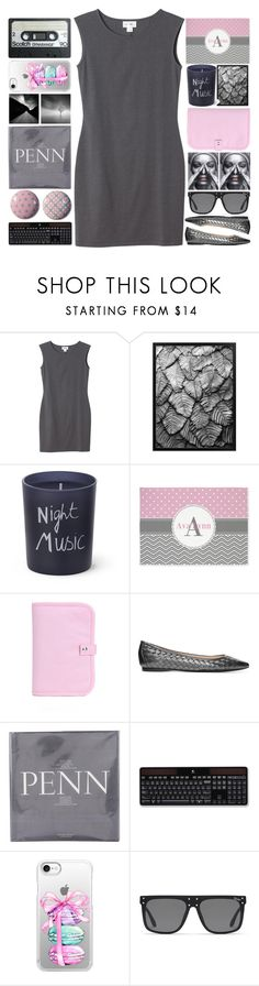 """Pink and Gray"" by grozdana-v ❤ liked on Polyvore featuring Monki, Bella Freud, Bottega Veneta, Logitech, Casetify and Topshop"
