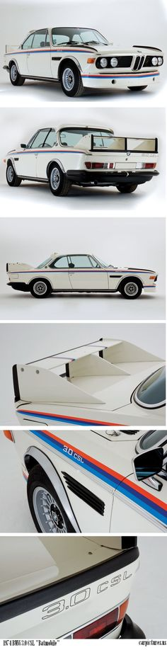 "Produced in two distinct series between 1973 and 1975, the BMW 3.0 CSL ""Batmobile"" was truly a racing car for the road. Featuring a lightweight alloy bonnet and outer door skins, thin-gauge steel panels, deleted front bumper, lightweight interior, up-rated engine and a host of radical aerodynamic devices inspiring its ""Batmobile"" nickname. More info: http://carpictures.us/1974-bmw-3-0-csl-batmobile"