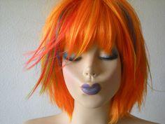 Scene wig. Lolita  wig. Orange wig.rainbow highlight by kekeshop, $94.95