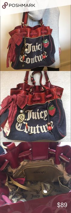Classic Juicy Couture Tote Purse Classic style Juicy Couture navy and red tote purse in excellent condition. Adorable charms with whimsical strawberry decor on the outside, and a detachable heart-shaped mirror charm on the inside. One exterior side pocket, 3 golden interior pockets. This purse has little to no wear. Has only been used a handful of times! Juicy Couture Bags Totes
