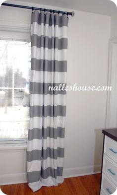 grey and white horizontal stripe curtain based on 100 bucks a panel crate u0026 barrel but hacked on ikea for a fraction isnu0027t this a cute room