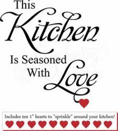 Kitchen Wall Decals - This Kitchen Is Seasoned With Love #diycuttingboard