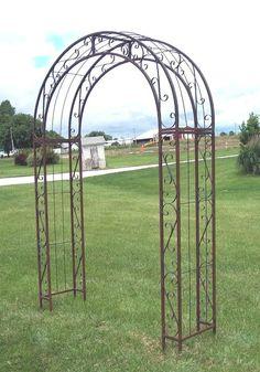 Wrought Iron Scroll Arbor Garden Art Back Yard Trellis Metal