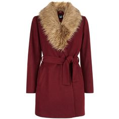 New Look Teens Burgundy Wrap Front Faux Fur Collar Coat (1 280 UAH) ❤ liked on Polyvore featuring outerwear, coats, burgundy, red coat, burgundy coat, new look coats and faux fur collar coat