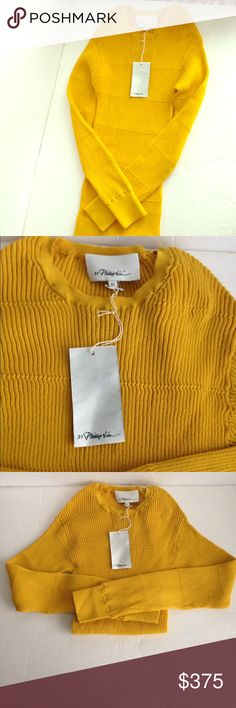 3.1 Philip Lim yellow knit sweater-NWT! 3.1 Philip Lim yellow knit sweater-NWT! Hard to find color-so beautiful! 3.1 Phillip Lim Sweaters