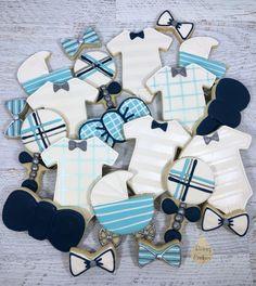 Boy baby shower cookies from Raining Cookies