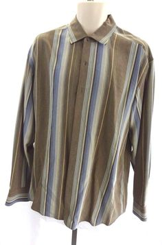 TOMMY BAHAMA Brown with Blue Beige Green Stripes Button Down Men's Shirt Size L #TommyBahama