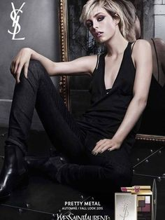 Yves Saint Laurent Pretty Metal Fall 2015 (Yves Saint Laurent Beauty) [] All people in this campaign:  Craig McDean - Photographer , Jean-Michel Bertin - Set Designer , Edie Campbell - Model