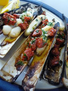 Razor clams with chorizo and garlic