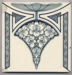 Super rare NStG Blütendolde Jugendstil Fliese art nouveau tile