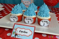 Cupcakes at a Cat in the Hat Party #catinthehat #partycupcakes