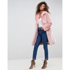 ASOS Midi Coat in Plush Faux Fur (36.760 HUF) ❤ liked on Polyvore featuring outerwear, coats, pink, pink fake fur coat, shiny coat, faux fur coat, pink faux fur coat and midi coat