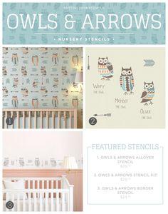 Cutting Edge Stencils shares new nursery wall stencil patterns including these Owl and Arrows themed designs. http://www.cuttingedgestencils.com/owls-arrows-allover-stencil-pattern.html