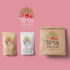 Brand Identity created for Tomis Polpas Acerola Farm in Brazil.Hand-crafted with real watercolors and ink. Cool Packaging, Coffee Packaging, Packaging Design, Custom Packaging, Product Packaging, Acerola, Creative Fonts, Design Graphique, Graphic Design Projects
