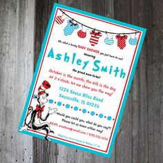 Dr. Seuss - Cat in the Hat - Baby Shower Invitation - DIY PRINTABLE