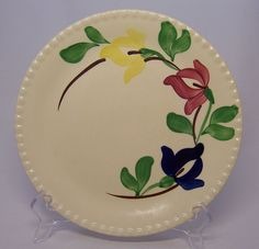 Blue Ridge Pottery Tulips Carnival plates are delightfully abstract. I've not seen tulips that look like this and I believe it's because tulips don't grow easily in the South. This is one of the favorites in my collection