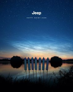 Jeep Print Advert By Publicis: Long Weekends | Ads of the World™ Weekend Update, Long Weekend, Quebec, Canada Day, Fireworks, Jeep, Ads, Mountains, Travel