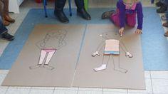 de kinderen de lichaamsdelen leren kennen en ze laten tonen op een groot stuk karton met een manneke op Human Body Activities, Learning Activities, Activities For Kids, Yoga For Kids, 4 Kids, Cool Kids, Body Preschool, Kindergarten, Eric Carle