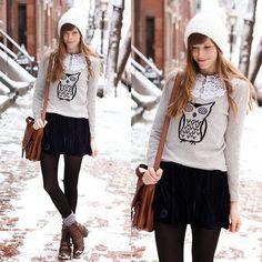 Tea And Tulips Velvet Dreams Dress, Romwe Owl Sweater | Snow owl! (by Steffy Kuncman) | LOOKBOOK.nu