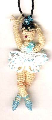 Finished 3D Beaded Blue Ballerina by Dragon (Also available in pattern & Kit).