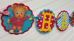 Daniel the Tiger Birthday banner, Daniel the Tiger Party decorations by SweetBugABoo on Etsy https://www.etsy.com/listing/275503128/daniel-the-tiger-birthday-banner-daniel