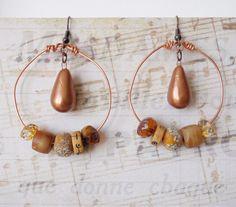 Bohemian Earrings, Boho Chic, Gypsy Earrings, Hippie Chic, Ceramic Drop Bead, Copper Hoop, Rustic Lampwork Glass, Womens Gift, Handmade by bleuluciole on Etsy