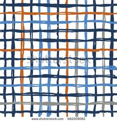 Vector seamless pattern brush stripes plaid. Blue orange color on white background. Hand painted grange texture. Ink geometric elements. Fashion modern style. Endless fantasy plaid fabric print.