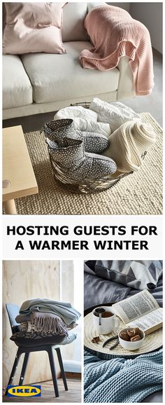 Winter is a time for curling up on the sofa and warming toes under throws but it's even better with plenty of friends and family. So if you have guests, fill their room with textiles and lots of lovely touches to turn it into a haven that will make them feel right at home. INGABRITTA throw, £25 VINTER 2017 slippers, £8