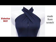 How to make Halter Twist Neck Design - May áo cổ yếm xoắn Designer Blouse Patterns, Dress Sewing Patterns, Fashion Sewing, Diy Fashion, Pattern Draping, Stitching Dresses, Baby Dress Design, Blouse Neck Designs, Dress Tutorials