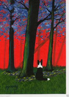 Border Collie Dog abstract outsider folk Art PRINT Todd Young WILD VIOLETS