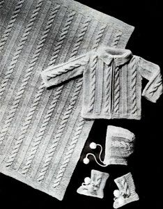 4 Piece Baby Set knit pattern from Jack Frost Baby Book, originally published by Jack Frost Yarn Company, Volume 61, in 1958.