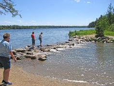 These rocks mark the boarder between Lake Itasca and the headwaters of the Mississippi River., Park Rapids, MN United States